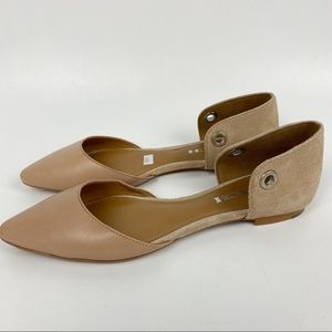 NWOT Coach Tan Leather Pointed Toe Suede Flats 6